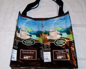 Handmade Purse Made With Recycled Green Mountain Coffee bags upcycled repurposed
