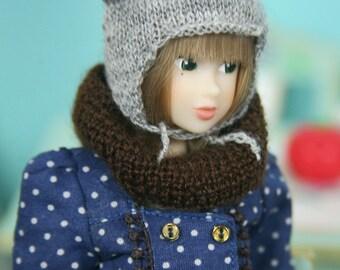 jiajiadoll-hand knitting-brown Scarf fits Momoko Blythe Misaki Pullip Lati yellow YoSD