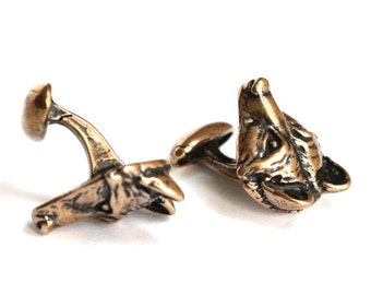 SALE - Wolf Mask Cufflinks  Solid Bronze Wolf Face Cuff Links Wolf Head Cufflinks 307