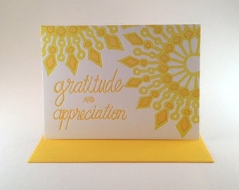"Mandala ""Gratitude and Appreciation"" Greeting Card - Yellow"