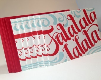 6 pack Falalalala Hand Crafted letterpress cards- Blue and Red