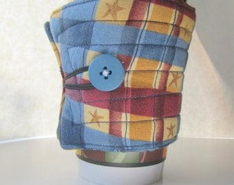 coffee sleeve, coffee cozy,  coffee cup sleeve, coffee cup cozy, reuseable  eco friendly blue, gold and red plaid