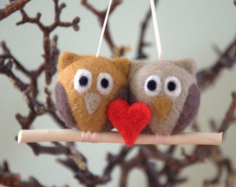 Valentine's Felted 2 owls with 1 red heart ornament needle felt crochet or wooden branch grey beige gift nursery decor woodland party