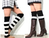 Leg Warmers Slouchy Knit Stripe Black and White, Knee Legwear, Arm Warmers, Women's accessory Winter Fashion