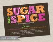 Girl Baby Shower Invitation - sugar and spice shower - baby girl shower invite (Printable Digital File)