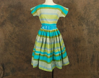 vintage 50s Dress - 1950s Turquoise and Green Stripe Party Dress Sz XS