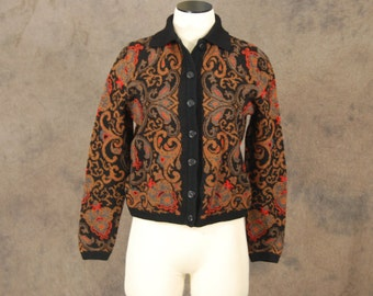 vintage 60s Cardigan - Catalina Brown Tapestry Damask 1960s Wool Sweater SZ M