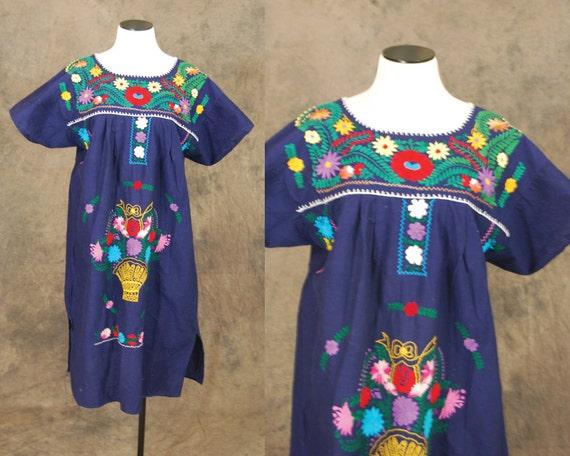 Vintage peasant dress navy blue boho mexican by jessamity