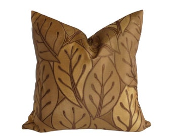 Gold Leaves Pillows, Brown Throw Pillow Cover, Antique Gold Copper, Brown Designer Pillow, Textured, Embroidered, Unique Gold Cushion, 18x18
