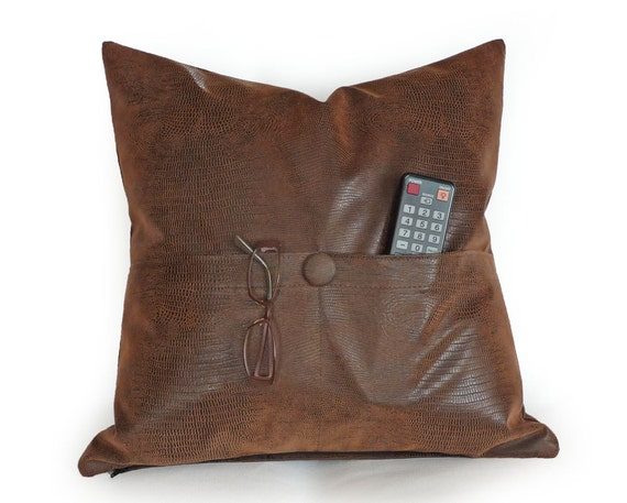 Man Cave Pillow With Cup Holder : Pocket pillow brown leather pillows man cave
