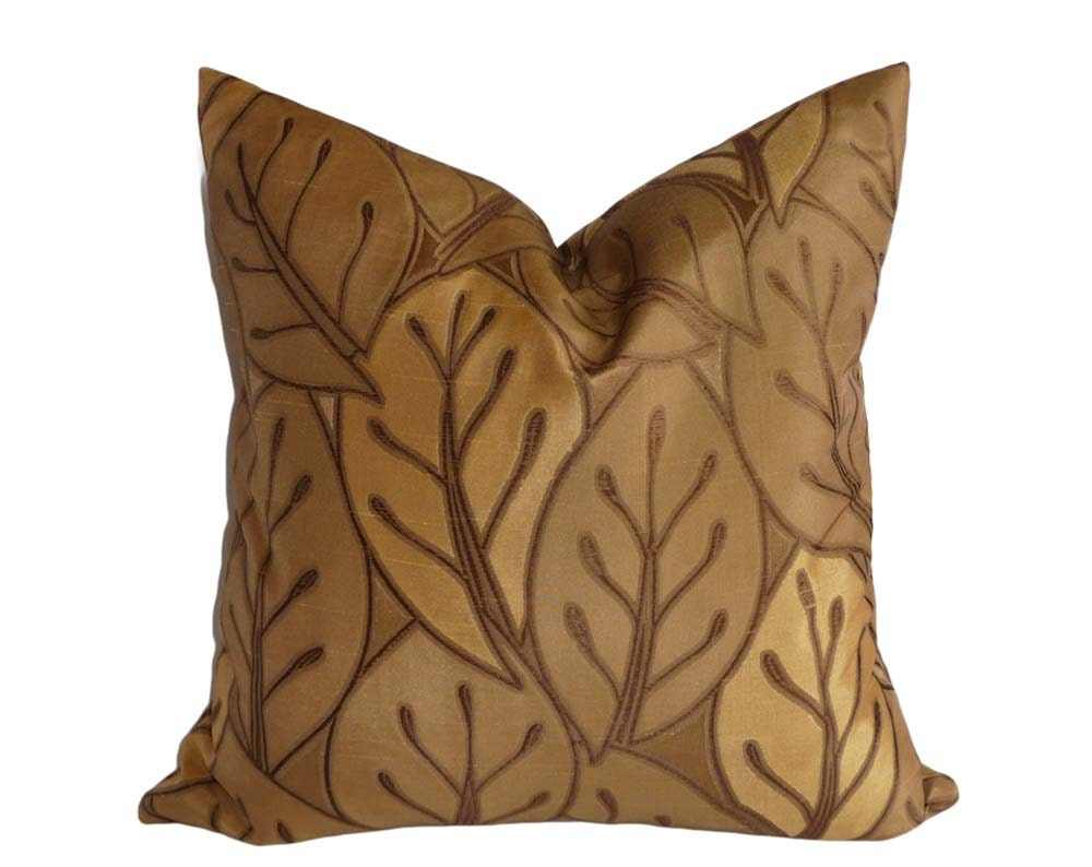 Antique Gold Decorative Pillows : Gold Leaves Pillows Brown Throw Pillow Cover Antique Gold
