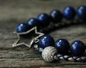 Diamond Star Leather Pave Natural Lapis Lazuli Bead Bracelet Set / Sapphire Indigo Blue Gold  / Sterling Silver Pave Constellation Gemstone