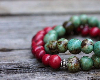 Cranberry Aqua Acai Bead Bracelets / Bali Sterling Silver Stacking Bracelets / Holiday Bohemian Ethnic Tribal  Red Blue Green Natural Seed