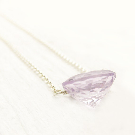 Simple Rose De France Amethyst Necklace in Sterling Silver as seen in LUCKYmag.com pastel pink violet stone / faceted brilliant diamond cut