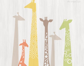 "12X12"" giraffe silhouettes giclée print on fine art paper. pastel rainbow, yellow, peach, taupe gray, sage green. paint texture backdrop."
