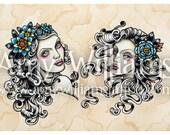S-Cut Girls Tattoo Art A3 Print