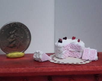 Romantic Pink and White Heart Layer Cake for Dollhouse 1:12 scale