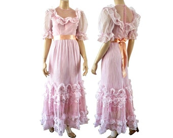 ESTELLE French Vintage 70s Rose Weddfing Dress