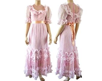 ESTELLE French Vintage 70s Rose Weddfing Dress