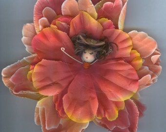 Deluxe Brunette Flower Fairy with Orange and Yellow Petals (006)