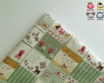 Fabric, Cotton, cotton, green, animal, cute, cartoon, deer, squirrel, bunny, rabbit, porcupine, FAT QUARTER, japanese, japan, yard, plaid