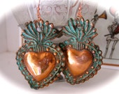 LG. SACRED HEART Intricate Copper Milagro Earrings- Perfect gift for the one you love- 2.75""