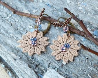 SALMON LACE French Handmade romantic earrings