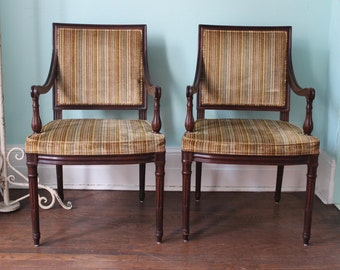 Henredon Arm Chair Pair Vintage Mahogany 1970's