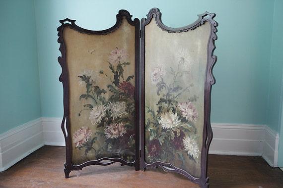 Victorian Fireplace Folding Screen Oil Paint Antique