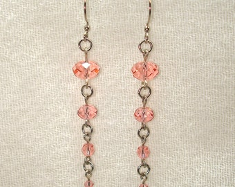 Twinkling Swarovski Crystal Earrings in Antique Rose - No Shipping Charge within the U.S.