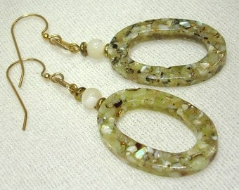 Green Beachy Dangles Earrings - No Shipping Charge within the U.S.