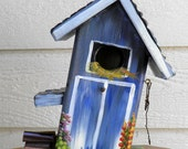 Mom's Blue Barn Bird House, Environmentally Friendly, Hand Made, Hand Painted, Wild Birdhouse