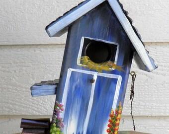Mom's Blue Barn Bird House, Environmentally Friendly, Hand Made, Hand Painted, Wild Birdhouse