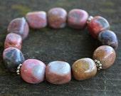 Pink Gemstone Stretch Bracelet // Boho Bracelet // Rhodonite Bracelet // Stack Bracelet // Gifts Under 30 // Bracelet // Gypsy // Pink