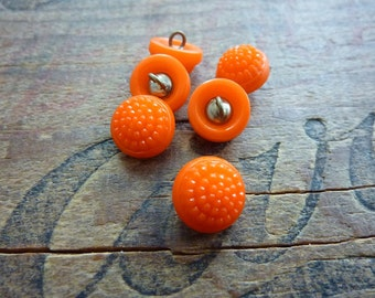 Small Czech Glass Decorative Button Orange
