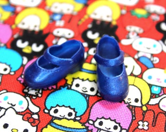 Blythe Medium Blue Shimmer Cute Mary Jane Doll shoes