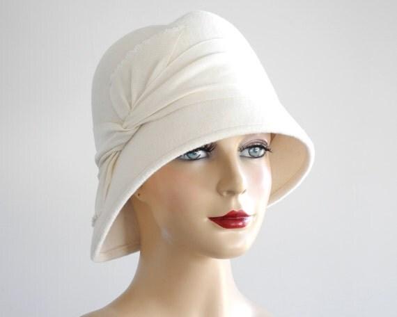 White Cloche Hat- Women- Fall Fashion- Winter Accessories- Bridal hat