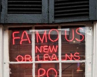 Po' Boys Neon Sign - 8 x 12 New Orleans Print