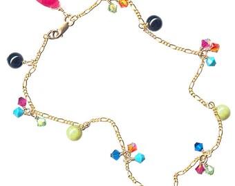 goldfilled chain anklet raspberry jade briolette bright color crystal