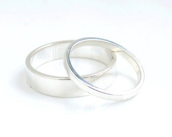 Sterling Silver His and Her Flat Wedding Ring Set  Made To Order