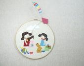 Fiber Art Illustration - Custom Design - Baby Shower or Birthday Gift