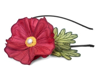 Raspberry Sorbet Icelandic Poppy Flower Headband- You Choose Headband, Clip, or Brooch- Embroidered Silk Flower Fascinator with Leaves