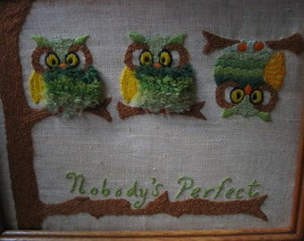 Owls Nobody's Perfect Vintage Picture Very Cool