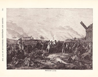 1901 World History Print - Battle of Leipsig - Vintage Antique Art Print American History Great for Framing 100 Years Old