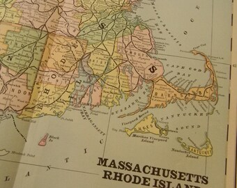 1883 State Map Massachusetts Connecticut Rhode Island - Vintage Antique Map Great for Framing 100 Years Old