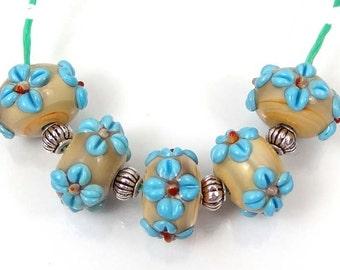 Lampwork Handmade Turquoise Blue Flower Spacer Rondelle Beads (L1101)