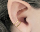 Duality - 14k Gold Filled Concha Double Band Ear Cuff, No Piercing, Gold Fill Ear Cuff, Fake Piercing, Concha Earring, Gold Earcuff