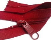 """ZipperStop Wholesale Authorized Distributor YKK® 7"""" YKK #4.5 Handbag with Extra-Long Pull Closed Bottom Color 519 Hot Red (5 zippers / pack)"""