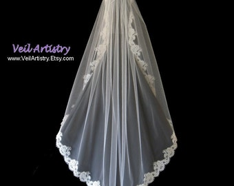 Short Bridal Veil, Fingertip Veil, Modified Mantilla Veil, Mantilla Veil, Alencon Lace Veil, Lace Veil, Made-to-Order Only, Bespoke Veil
