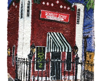 Scarlet Scoop Ice Cream Shop Houma Print -Matted to fit 11x14 frame